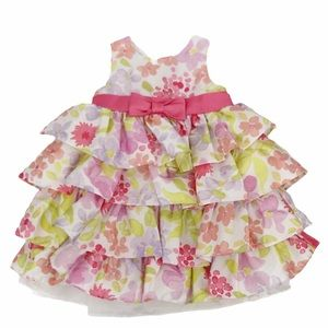 Baby Girl 3 Tiered Satin Pastel Floral Dress 12M